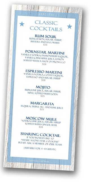 Star Bar cocktails at the Lone Star Restaurant Barbados 2018